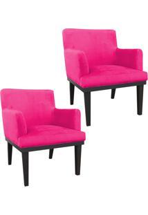 Kit 02 Poltronas Decorativa Vitória Para Sala E Recepção Suede Pink - D'Rossi