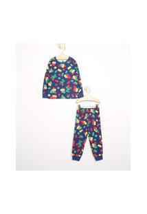 Pijama Infantil Estampado De Blocos Manga Longa Gola Careca Brandili Azul Escuro