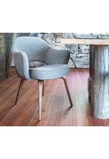 Cadeira Saarinen Executive Madeira (Com Braços) Tecido Sintético Mostarda Soft D011
