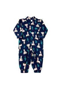 Macacão Infantil Pijama Ano Zero Microsoft Estampado Pp - Marinho
