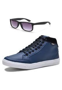 Tênis Masculino Cano Alto Form'S + Óculos Azul