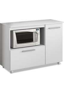 Balcão Para Cooktop 2 Prateleiras 2 Compartimentos Branco Brilho - Multimóveis