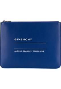 Givenchy Clutch De Couro Com Logo - Azul