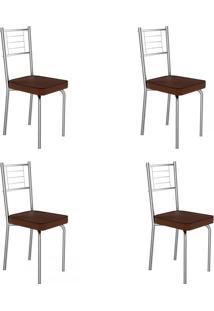 Cadeiras Kit 4 Cadeiras Juliana Cromado/Marrom - Art Panta