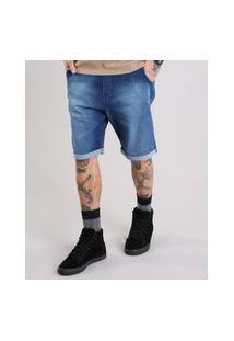 Bermuda Jeans Masculina Reta Com Cordão Azul Escuro