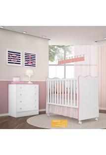 Jogo De Quarto De Bebê Doce Sonho Qmovi 2 Peças Com Berço E Cômoda - Branco Rosa