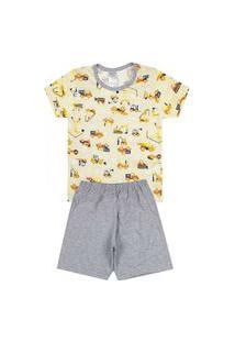 Pijama Bebê Caminhões Amarelo Com Cinza 821 - Kappes