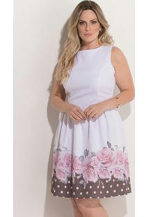 835d91206a1917 Vestido Quintess (Branco E Preto) Evasê Plus Size