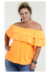 Blusa Feminina Ombro A Ombro Neon Plus Size Chópp a5dd71a9da6bb