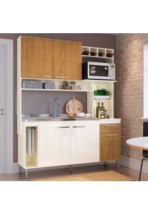 Cozinha Compacta Flora 5 Pt 1 Gv Champanhe E Freijó