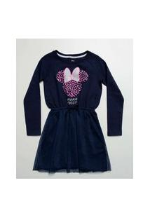 Vestido Infantil Minnie Manga Longa Disney