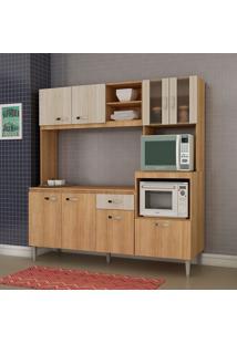 Cozinha Compacta Tati 8 Portas Com Tampo Carvalho/Blanche - Fellicci