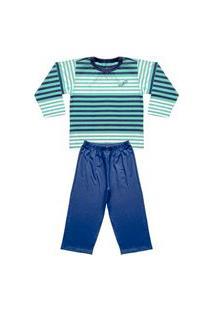Pijama Infantil Look Jeans Longo Listra Verde
