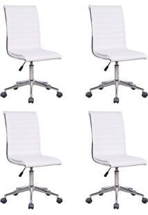 Conjunto Com 4 Cadeiras De Escritório Secretária Giratórias Marilyn Branco