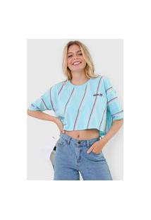 Camiseta Cropped Hang Loose Waves Azul/Rosa