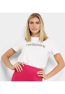 Camiseta Colcci Super Hero Feminina - Feminino-Branco
