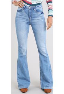 Calça Jeans Feminina Super Flare Cintura Super Alta Azul Claro