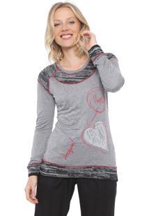 Camiseta Desigual Lucia Cinza