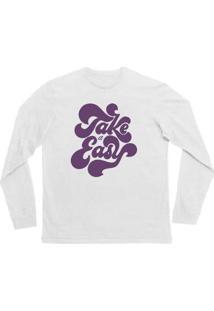 Camiseta Manga Longa Infantil Take Easy Comfy Feminina - Feminino-Branco