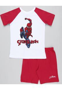 Pijama Infantil Homem Aranha Raglan Manga Curta Branco