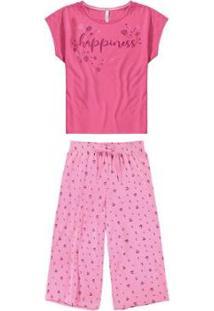 Pijama Malwee Liberta Pantacourt Happiness Feminino - Feminino