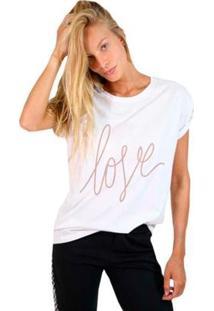 Camiseta Joss Estampada Love Manuscrito Feminina - Feminino-Branco