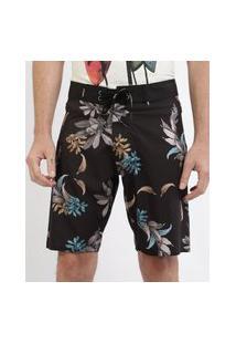 Bermuda Masculina Estampada Floral Com Bolso Preta