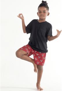 Pijama Curto Manga Curta Malha Grécia Mini Masculino