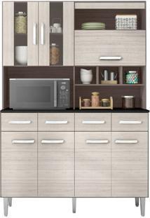 Cozinha Compacta Melissa 7 Portas Capuccino E Amêndoa Poquema