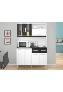 Cozinha Compacta 7 Portas Ellen Branco/Preto - Lc Móveis