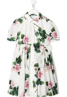 Dolce & Gabbana Kids Vestido Com Estampa De Rosa E Pregas - Branco