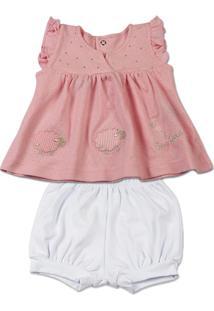 Conjunto Bebê Malha Trabalhada Mudi Ovelhas - Feminino-Rosa