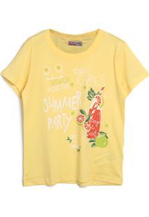 Camiseta Colcci Fun Menina Lettering Amarela