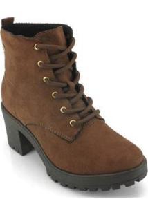 Bota Coturno Ramarim Ankle Boot Feminina - Feminino-Marrom