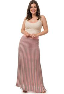 Saia Pink Tricot Longa Plissada Listrada Feminino Rosa/Cinza