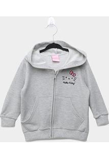 Jaqueta Moletom Infantil Hello Kitty Com Capuz - Feminino
