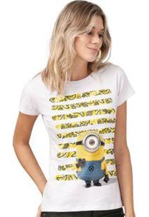 Camiseta Bandup! Minions Listras De Bananas - Feminino-Branco