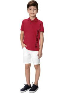 Conjunto Vermelho Escuro Camisa Polo Menino