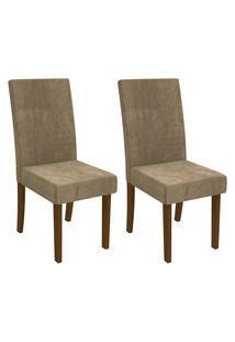 Conjunto 2 Cadeiras Kappesberg 2Cad131Wad005 Estofada Suede Walnut/Caramelo