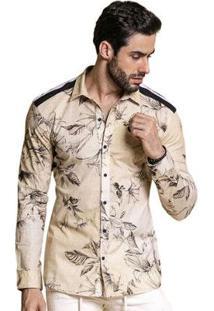Camisa Manga Longa Pargan Floral Masculina - Masculino-Bege