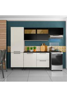 Cozinha Compacta Black&White Ii 6 Pt 2 Gv Branca E Preta