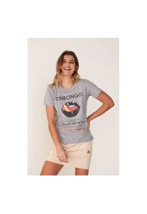 Camiseta Onbongo Feminina Estampada Cinza Mescla