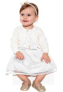 Vestido Infantil Paraiso Riviera Com Bolero Tricô Branco