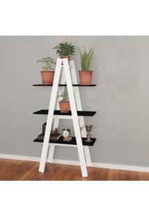 Estante Decorativa Escada Menor Rt3047 Branco/Preto - Móvel Bento