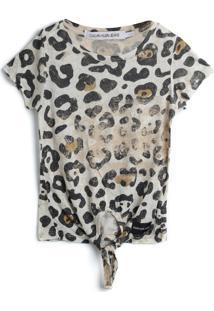 Blusa Calvin Klein Kids Menina Animal Print Off-White