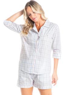 Pijama Abotoado Curto Em Algodão Egípcio Tereza