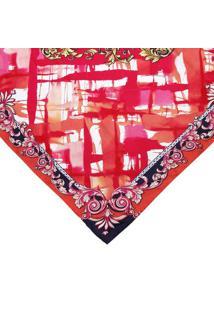 Lenço Abstrato Em Seda - Laranja & Pink - 88X88Cmversace Collection