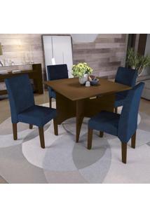Sala De Jantar Kappesberg Camomila 4 Cadeiras Walnut E Azul Marinho