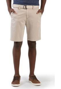 Bermuda Taco Chino Flex Com Cinto Masculino - Masculino-Off White