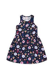 Vestido Infantil Regata Azul Marinho Flores (12/14) - Brandili - Tamanho 12 - Azul Marinho